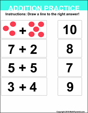 numbers 6 – 10 addition worksheet