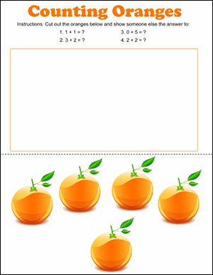 orange counting math game for kindergartener
