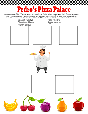 chef above and below kindergarten math worksheet