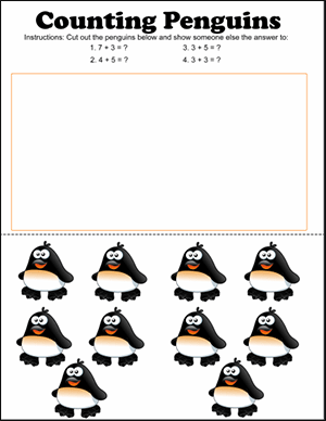 penguin counting math game for kindergarten student