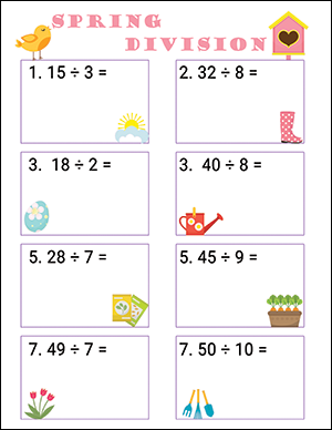 spring math worksheet for grade 2