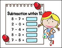 subtraction worksheet – kindergarten math problems