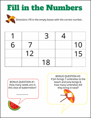missing numbers worksheet for kindergarten