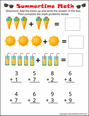 1st Grade Math Worksheets | Math Pyramid
