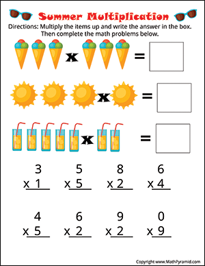 summer multiplication worksheet for 3rd graders
