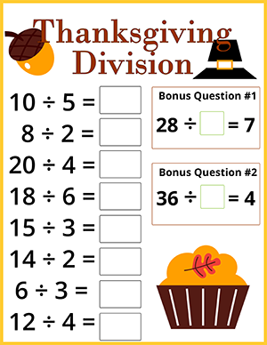 thanksgiving math worksheet with division