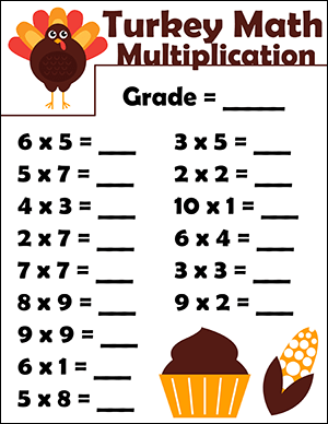 thanksgiving math worksheet with multiplication