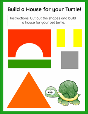turtle house shapes worksheet for kindergarten