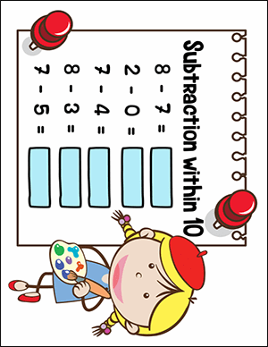 subtraction worksheet for numbers under 10