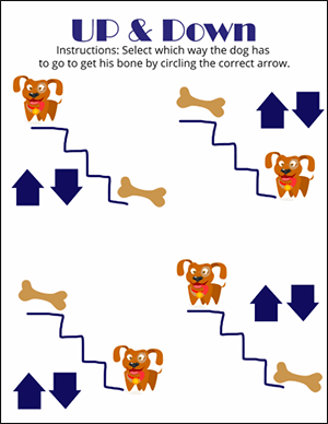 dog up and down math worksheet