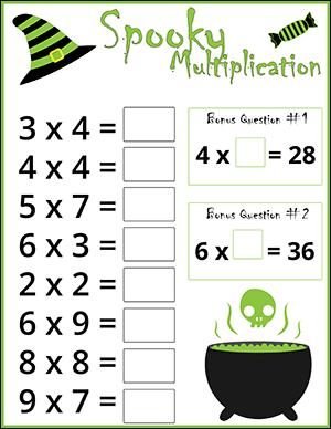 Free Halloween Math Worksheets  Math Worksheets Witches Multiplication Halloween Worksheet