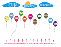 balloon addition practice kindergarten math problems